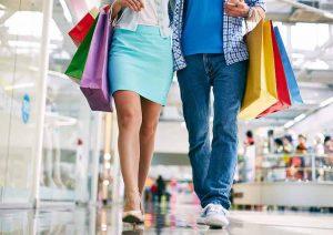 shoppers walking in mall